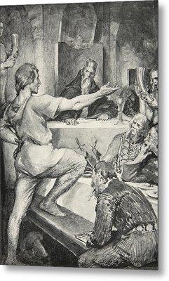 Beowulf Replies Haughtily To Hunferth Metal Print by John Henry Frederick Bacon
