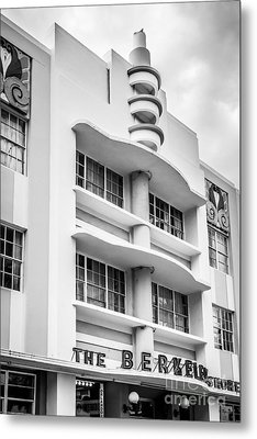 Berkeley Shores Hotel - South Beach - Miami - Florida - Black And White Metal Print by Ian Monk