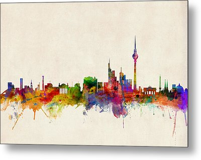Berlin City Skyline Metal Print by Michael Tompsett