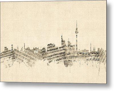 Berlin Germany Skyline Sheet Music Cityscape Metal Print by Michael Tompsett