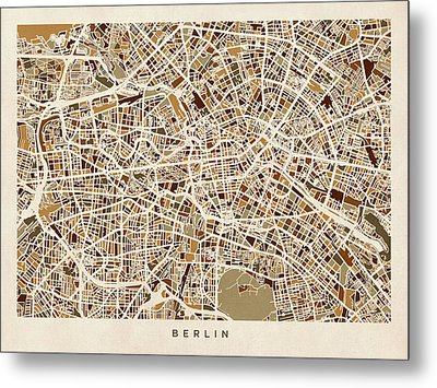 Berlin Germany Street Map Metal Print by Michael Tompsett
