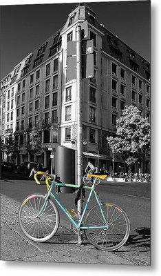 Berlin Street View With Bianchi Bike Metal Print by Ben and Raisa Gertsberg