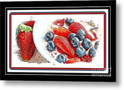 Berries And Yogurt Illustration - Food - Kitchen Metal Print by Barbara Griffin