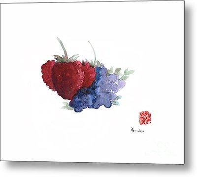 Berries Red Pink Black Blue Fruit Blueberry Blueberries Raspberry Raspberries Fruits Watercolors  Metal Print by Johana Szmerdt