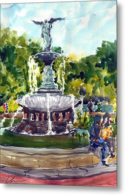 Bethesda Fountain At Central Park Metal Print by Chris Coyne