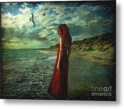 Between Sea And Shore Metal Print by Lianne Schneider