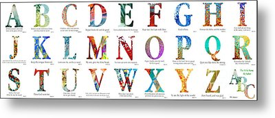 Bible Verse Alphabet Poster Metal Print by Mark Lawrence