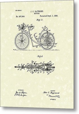 Bicycle 1906 Patent Art Metal Print by Prior Art Design
