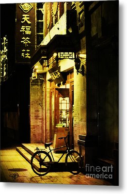 Bicycle On The Streets Of Beijing At Night Metal Print by Jani Bryson