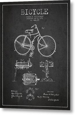 Bicycle Patent Drawing From 1891 Metal Print by Aged Pixel