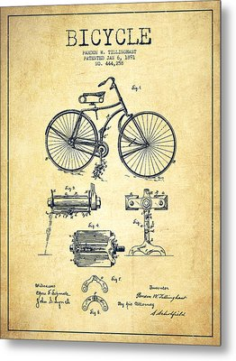 Bicycle Patent Drawing From 1891 - Vintage Metal Print by Aged Pixel
