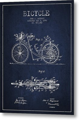 Bicycle Patent Drawing From 1896 - Navy Blue Metal Print by Aged Pixel