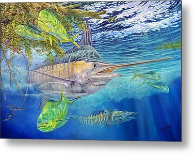Big Blue Hunting In The Weeds Metal Print by Terry  Fox