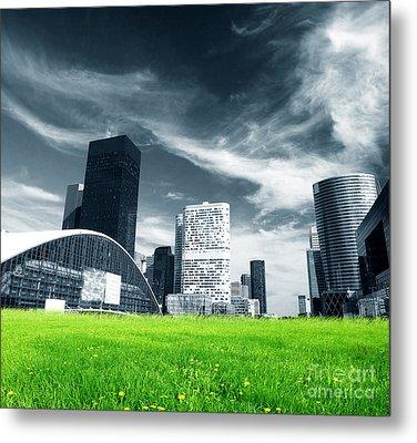 Big City And Green Fresh Meadow Metal Print by Michal Bednarek