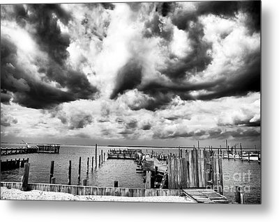 Big Clouds Little Dock Metal Print by John Rizzuto