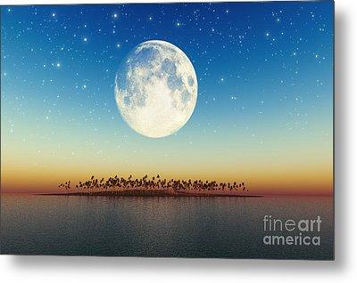 Big Full Moon Behind Island Metal Print by Aleksey Tugolukov