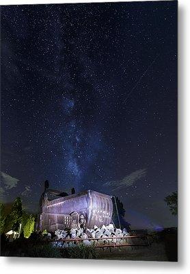 Big Muskie Bucket Milky Way And A Shooting Star Metal Print by Jack R Perry