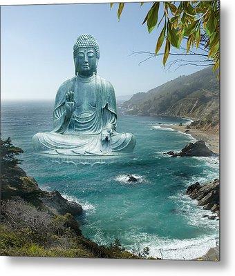 Big Sur Tea Garden Buddha Metal Print by Alixandra Mullins