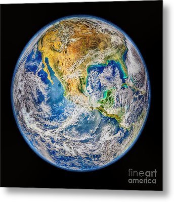 Biggest Image Of Earth Ever N. A. S. A Metal Print by Bob and Nadine Johnston