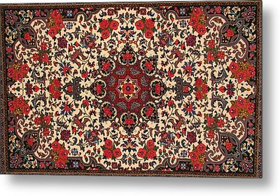 Bijar Red And Cream Silk Carpet Persian Art Poster Metal Print by Persian Art