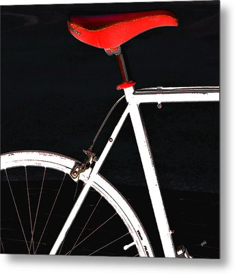 Bike In Black White And Red No 1 Metal Print by Ben and Raisa Gertsberg