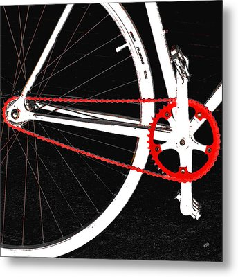 Bike In Black White And Red No 2 Metal Print by Ben and Raisa Gertsberg