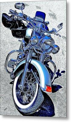 Bike In Blue For Two Metal Print by Ben and Raisa Gertsberg