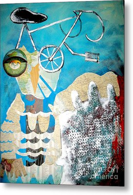Bike Owl Metal Print by Amy Sorrell