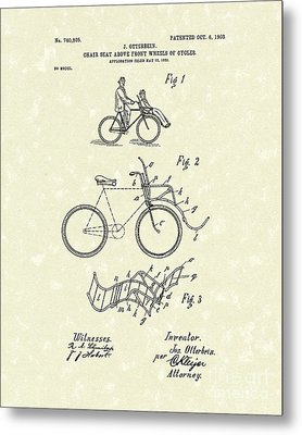 Bike Seat 1903 Patent Art Metal Print by Prior Art Design