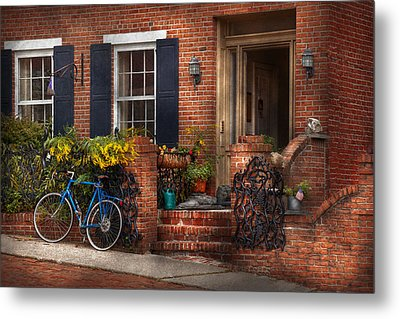 Bike - Waiting For A Ride Metal Print by Mike Savad