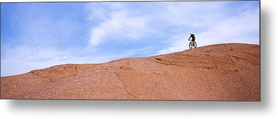 Biker On Slickrock Trail, Moab, Grand Metal Print by Panoramic Images