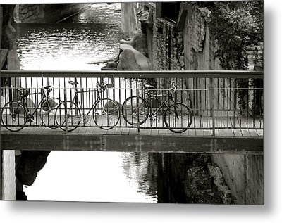 Bikes Over Waller Creek Metal Print by Kristina Deane