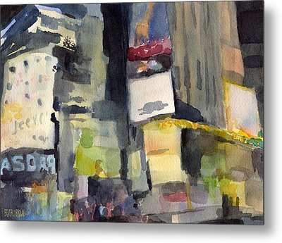 Billboards Times Square At Night Watercolor Painting Of Nyc Metal Print by Beverly Brown Prints