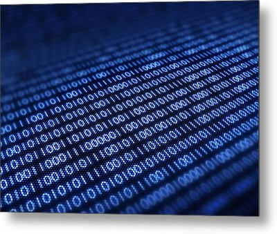 Binary Code On Pixellated Screen Metal Print by Johan Swanepoel