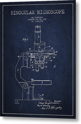 Binocular Microscope Patent Drawing From 1931 - Navy Blue Metal Print by Aged Pixel