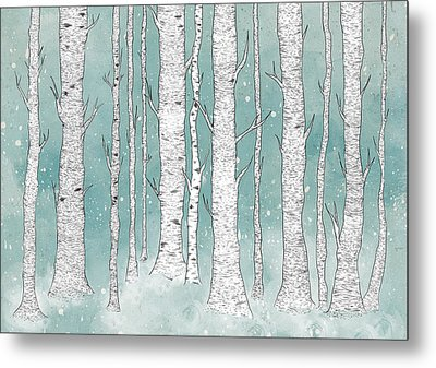 Birch Forest Metal Print by Randoms Print