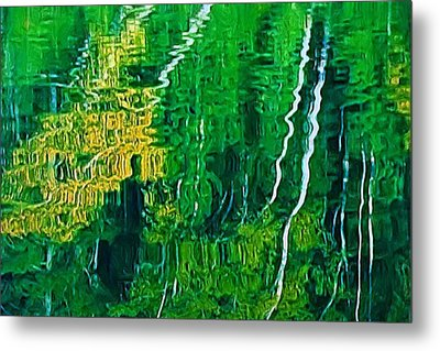 Birch Trees Reflection Metal Print by Pat Now