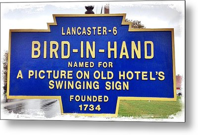 Bird-in-hand City Sign Metal Print by Stephen Stookey