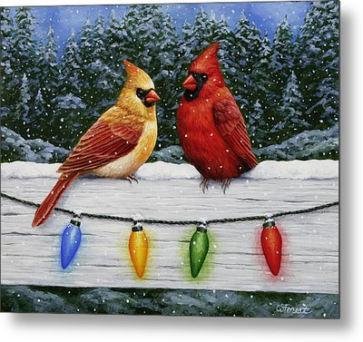 Bird Painting - Christmas Cardinals Metal Print by Crista Forest