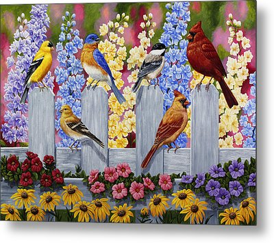 Bird Painting - Spring Garden Party Metal Print by Crista Forest