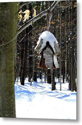 Birdhouse In Winter Metal Print by Avis  Noelle