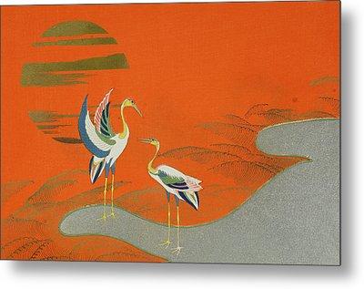 Birds At Sunset On The Lake Metal Print by Kamisaka Sekka