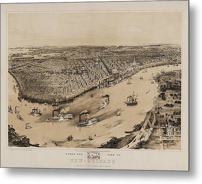 Birds Eye View Of New Orleans 1852 Metal Print by Digital Reproductions