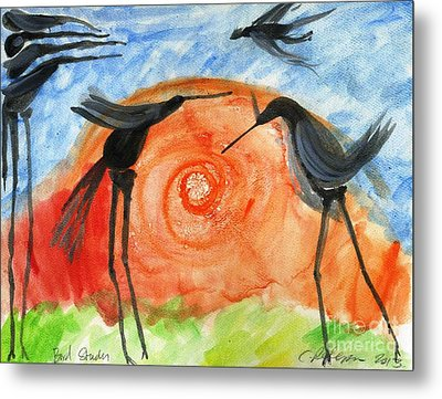 Birds In The Sun. A Black Bird Study 2013 Metal Print by Cathy Peterson