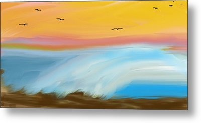 Birds Over The Ocean Metal Print by Constance Carlsen