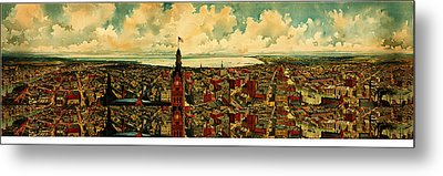 Birdseye Panorama Of Milwaukee 1898 Metal Print by MotionAge Designs
