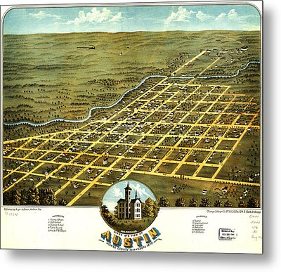 Birdseye View Of Austin Minnesota 1870 Metal Print by MotionAge Designs