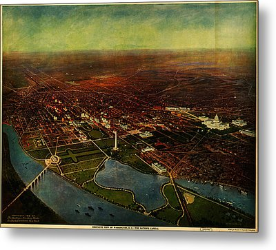 Birdseye View Of Washington 1916 Metal Print by Celestial Images