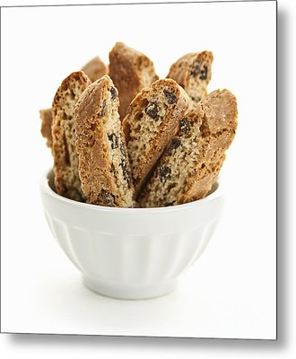 Biscotti Cookies In Bowl Metal Print by Elena Elisseeva