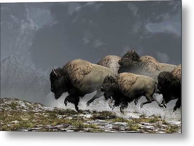 Bison Stampede Metal Print by Daniel Eskridge